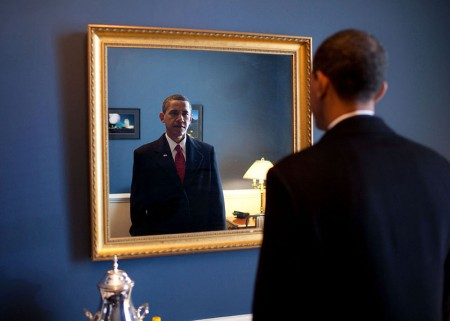 Barack Obama takes one last look in the mirror before going out to take the oath of office